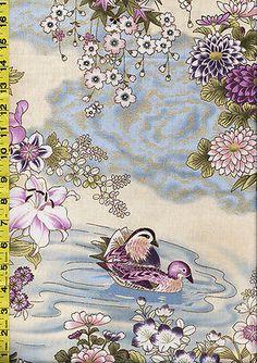 Asian Quilting Fabric -  Hoffman Kotori - Mandarin Ducks - Floral River - Orchid