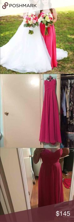 bridesmaids/prom/formal gown this is a very pretty formal gown. I wore it for my cousins wedding and haven't touched it since. I'm willing to work with the price, but don't low ball me. I do have it for cheaper on Ⓜ️ercari. allure Dresses Strapless