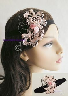 Pink and black headband vintage head piece pink by DiahChristie