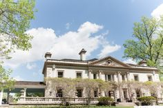 Liriodendron Mansion in Maryland is a beautiful wedding venue for an outdoor wedding ceremony and reception.