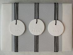 JOY PEACE NOEL : Small Round White Holiday Gift Tag (quantity 6 - 2 of each). $14.00, via Etsy.
