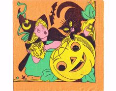 1940s HALLOWEEN NAPKIN Beautiful Witch by