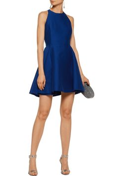 Shop on-sale Halston Heritage Fluted cotton and silk-blend mini dress. Browse other discount designer Dresses & more on The Most Fashionable Fashion Outlet, THE OUTNET.COM