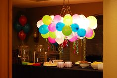 Cute idea for the kitchen table light...could do black, gold, purple, and/or white balloons.