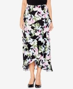 Vince Camuto Floral-Print Faux-Wrap Ruffled Long Skirt - Black 12