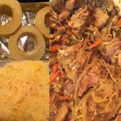 """Spaghetti squash """"chow mien"""" with chicken breast!!! My 7 year old thought I ordered Chinese!! I used cabbage carrots(cole slaw mix) celery egg and terryaki sauce!! This squash is so versatile you can use any toppings you'd like even spaghetti sauce!! Without the guilt of empty calories & carbs #cleaneats #spaghettisquash #lowcarb by jwalkerclean"""
