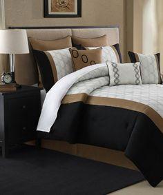 Another great find on #zulily! Black & Gold Caviar Nine-Piece Comforter Set #zulilyfinds