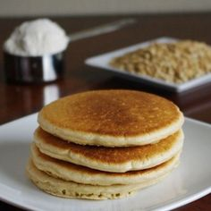 Oat Flour Pancakes - gluten free breakfast! Substitute with almond milk and coconut oil to make it even better.