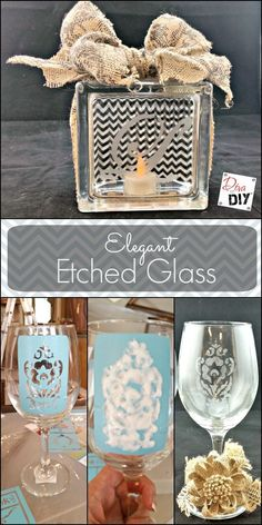 Quick and Easy Tutorial to Etch Glass with Confidence is part of diy-home-decor - Are you intimidated by the professional look of etched glass Afraid to tackle trying to etch glass on your own Let me show you how easy it can be! Broken Glass Art, Sea Glass Art, Stained Glass Art, Fused Glass, Crafts For Teens To Make, Diy And Crafts, Kids Diy, Yarn Crafts, Decor Crafts