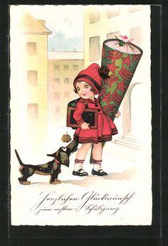 """carte postale ancienne: CPA """"Herzlichen Glückwunsch zum ersten Schulgang"""", Fille im roten Kleid et Bommelmütze avec Zuckertüte et Dackel"""