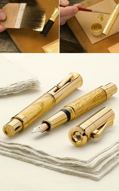 CRAFTED BY THE MASTERS - After studying old Venetian gilding techniques and winning the Bavarian State Design Award, the gilder and church painter Ernst D. Feldmann has achieved the almost impossible: Layer upon layer of 24-carat gold leaf is applied to the oak pen barrel in an intricate and detailed process. Embedded in resin, this reveals a unique pattern of reflections that only the purest gold can display. #poty2012 #fountainpen #handlettering