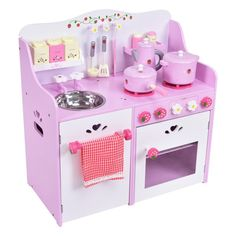 00115f56a Kids Wooden Kitchen Toy Strawberry Pretend Cooking Playset - Toy Kitchens   Play  Food - Pretend