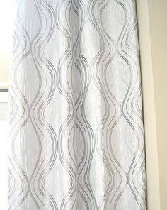 Grey And White Curtains, Silver Curtains, Long Curtains, Grey Curtains, Panel Curtains, Curtain Patterns, Curtain Ideas, Natural Linen, Home Living Room