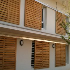 Shutters – Some Styles And Inspiration – The Homeward View Cottage Shutters, House Shutters, Window Shutters, Modern Shutters, Bahama Shutters, Wood Facade, Outdoor Blinds, Balcony Design, House In The Woods
