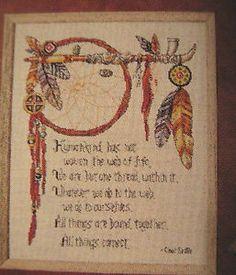 "Free Native American Cross Stitch | Cross Stitch ""Web of Life"" Pattern Dream Catcher Feathers Native ..."