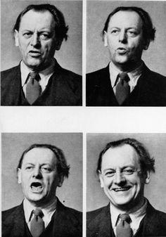 Kurt Schwitters making faces - London, 1944