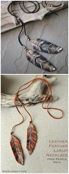 DIY Feather Necklace Tutorial and Template from Made in a Day.This knockoff DIY Feather Necklace or Lariat is made with painted and cut leather. Top Photo: $98 Free People Feather in the Wind Lariat in rust.Bottom Photo: DIY by Made in a Day.For a huge archive of the best DIY knockoffs of all kinds go here: truebluemeandyou.tumblr.com/tagged/knockoffs For more color ideas, here are the rust and cream versions of the Free People feather lariats: