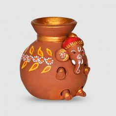 Terracotta Handpainted Baby Ganesha Coming Out From The Matki - Hobbies paining body for kids and adult Kalash Decoration, Diya Decoration Ideas, Diy Diwali Decorations, Diwali Diy, Diwali Gifts, Clay Art Projects, Clay Crafts, Pottery Painting, Pottery Art