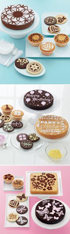 Cake and cupcake stencil sets #dodatki #inteligentnystyl www.amica.com.pl