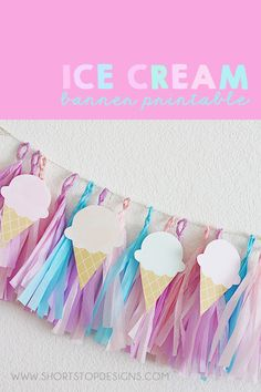 Printable Ice Cream Banner, Ice Cream Party Decoration If you're having an Ice Cream Party, you're going to want to have this Ice Cream Banner around! Pair the Ice Cream Banner with this Tissue Paper Tassel Garland! 3rd Birthday Parties, Birthday Party Decorations, Girl Birthday, Decoration Party, Summer Party Decorations, Birthday Banners, Birthday Ideas, Ice Cream Decorations, Ice Cream Party Decor