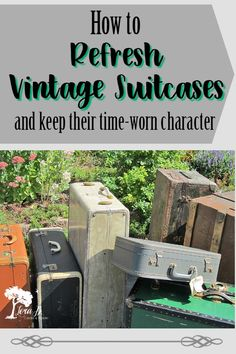 vintage suitcase using these expert tips. Vintage Suitcases have classic architectural charm. They can easily be refreshed and re-purposed using these expert junker tips. Learn how to give them a new lease on life, while keeping their time-worn charm. Vintage Suitcases, Vintage Luggage, Vintage Items, Vintage Suitcase Decor, Suitcase Table, Vintage Stuff, Antique Items, Furniture Makeover, Diy Furniture