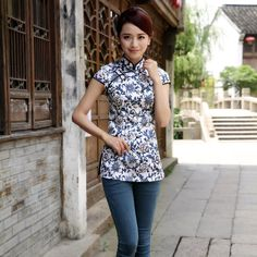 Pretty Blue Flowers Print Qipao Cheongsam Shirt - Chinese Shirts & Blouses - Women