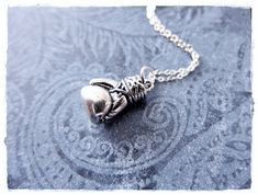 Large Boxing Glove Necklace  Sterling Silver by EvelynMaeCreations