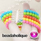 DIY- Vídeo 8 min- como fazer uma pulseira c/ 5 fiadas utilizando travões e protectores- Tutorial - Videos: How to Make a Party Bead Multi Strand Bracelet - do site Beadaholique