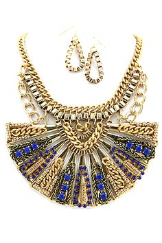 gold and royal blue necklace