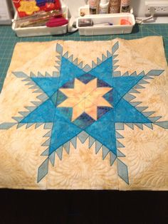 Working on my Feathered Star from Hoop Sisters love their designs. Piecing and quilting in the hoop is Sew much fun!