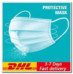 Blue Earloop Face Mask 3 Ply Surgical Disposable 100pcs Blue Face Mask, Diy Face Mask, Face Masks, Masque Anti Pollution, Bandana, Youtube News, Protective Mask, Mask Shop, Mouth Mask