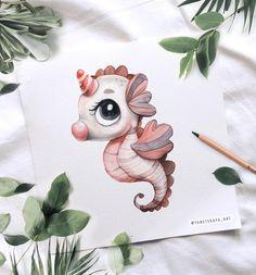 Disney Drawings, Cartoon Drawings, Cartoon Art, Cute Drawings, Cute Animal Illustration, Watercolor Illustration, Watercolor Paintings, Baby Animal Drawings, Animal Sketches