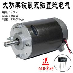 Permanent Magnet DC 36V-220V 300W 750rpm-4500rpm High Power Double Ball Bearing Motor Lathe Spindle Flea Machine Motor