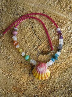 Baby moonstone rainbow sunrise shell necklace