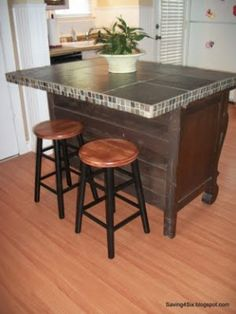 buffet / dresser turned into kitchen island / breakfast counter