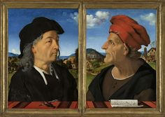 Portrait of Giuliano da Sangallo (ca. 1445-1516), architect, Piero di Cosimo, 1482. This diptych shows a leading Florentine architect, Giuliano da Sangallo with his late father Francesco, also an architect and a musician. These are early examples of portraits in which the subject's profession plays a key role. Here a pen and dividers suggest #architecture, a melody in note form suggests music; in both disciplines, harmony and proportion are essential. www.rijksmuseum.nl