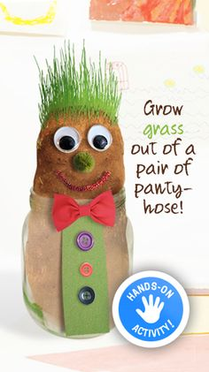 """""""Soil Sam"""" - Grow grass out of a pair of pantyhose! A fun, creative, and educational activity for kids! 4 Yr Old Crafts, Holiday Crafts For Kids, Diy For Kids, Educational Activities For Kids, Toddler Activities, Kindergarten Crafts, Preschool Crafts, Diy Garden Projects, Projects For Kids"""
