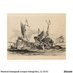 Nautical steampunk octopus vintage kraken drawing wood print.  Artwork designed by iBella. Price $85.95 per wood wall art #vintagehomeware #vintagehomedecor