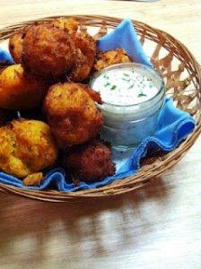 Sweet Potato Catfish Hushpuppies  recipe courtesy Porch Rockin'