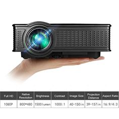 Portable Mini HD Projector 1080p 1500 Lumens LED Video Projector For Home Theater Movies Iphone Android iPad Tablet Via HDMI AV VGA USB SD WE40 Black * Click on the image for additional details.