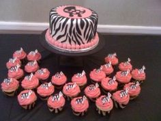 Zebra Baby Shower - The cake could even be a dummy, if you didn't need it to serve; also, a good idea for a birthday party or bridal shower.