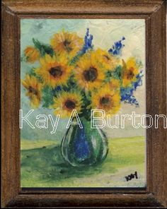 Miniature dollshouse still life painting of sunny Sunflowers arranged in a glass vase.  The  beautiful sunflower is named for its ability to follow the sun in the course of a day.  Brighten a dark corner of your doll house with this sunny picture.  Approx. 57mm x 45mm (2 3/16