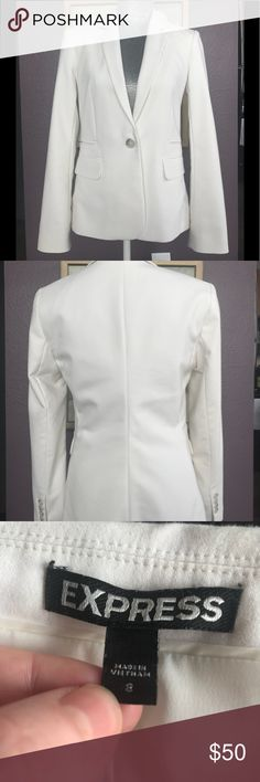 Express fitted white jacket Express fitted white jacket, size 8.    Thank you for viewing my listings🤩!! I hope you find something to compliment your wardrobe. 🛍🎊  While you're shopping, please keep in mind these items are gently used clothing from my personal closet, not new, unless otherwise stated. I do my best to inspect each piece and note any areas of concern for buyer awareness, which is also reflected in the price of my listed items.    Happy shopping! 💐 Express Jackets & Coats…