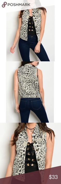 TAUPE ANIMAL PRINT VEST This is a 100% cotton vest with a Button Front Closures, that is sleeveless and features a Animal Print pattern throughout and pocket details. Jackets & Coats Vests
