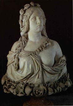 SANTO VARNI  (Genova, 1807-1885)  Ninfa, 1860  busto in marmo, cm 78x70x30