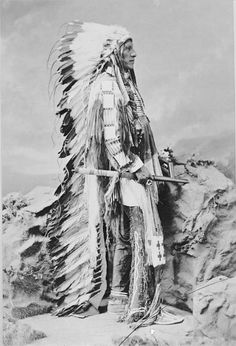 Washi-Ta-Tonga (American Horse), Dakota Oglala, in Native Dress with Headdress and Breastplate and Holding Pipe and Bag - Bell - 1877