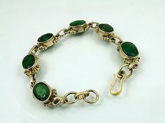 Faceted-Emerald-bracelet-set-in-925-Sterling-Silver-Hand-Made-UK-Seller