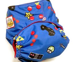 OLD SCHOOL GAMER RED PUL ONE SIZE POCKET CLOTH DIAPER