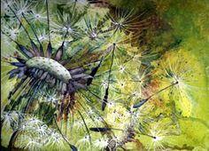 watercolour painting of Dandelion