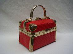 Vintage FLAMING RED HOT Vintage Box Handbag by WORLDOFTAMBERSHOV, $245.00